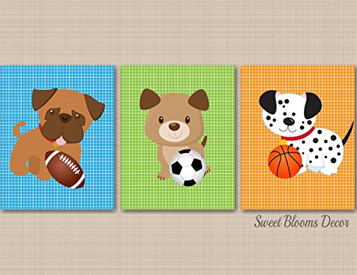 Bow Wow Birthday - Puppy Nursery Wall Art Puppy Sports Nursery Decor Bow Wow Buddies Dogs Kids Room Decor Dogs Kids Room Soccer Basketball Football Decor UNFRAMED Prints(NOT CANVAS) C527
