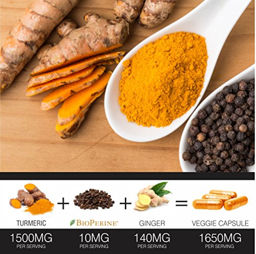 Turmeric Curcumin with BioPerine Black Pepper and Ginger - Made in USA - 120 Vegetarian Capsules for Advanced Absorption, Cardiovascular Health, Joints Support and Anti Aging Supplement (120 Capsules) by FineVine (Image #4)