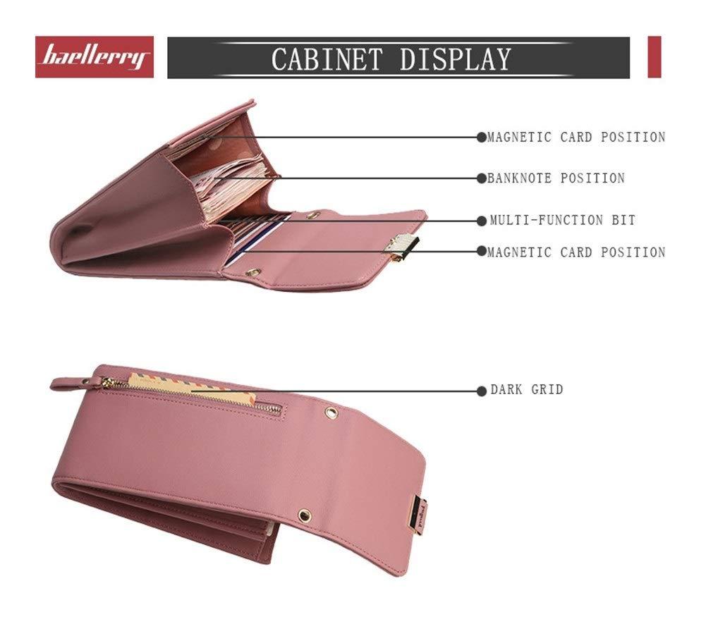 Damplånbok enfärgad liten diagonal väska multifunktionell spänne medellängd kuvertväska handväska (Färg: Blå) BLÅ