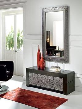 meuble dentre bas avec miroir contemporain cameron coloris patin gris plomb reliefs
