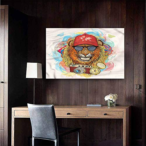 Gabriesl Wall Mural Wallpaper Stickers Hipster Lion Hat Compass Camera Window Wall Sticker Size : W20 x H16