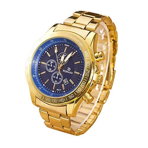 Baonoopy Mann-Edelstahl-Uhr-analoge Quarz-Uhrwerk Armbanduhren
