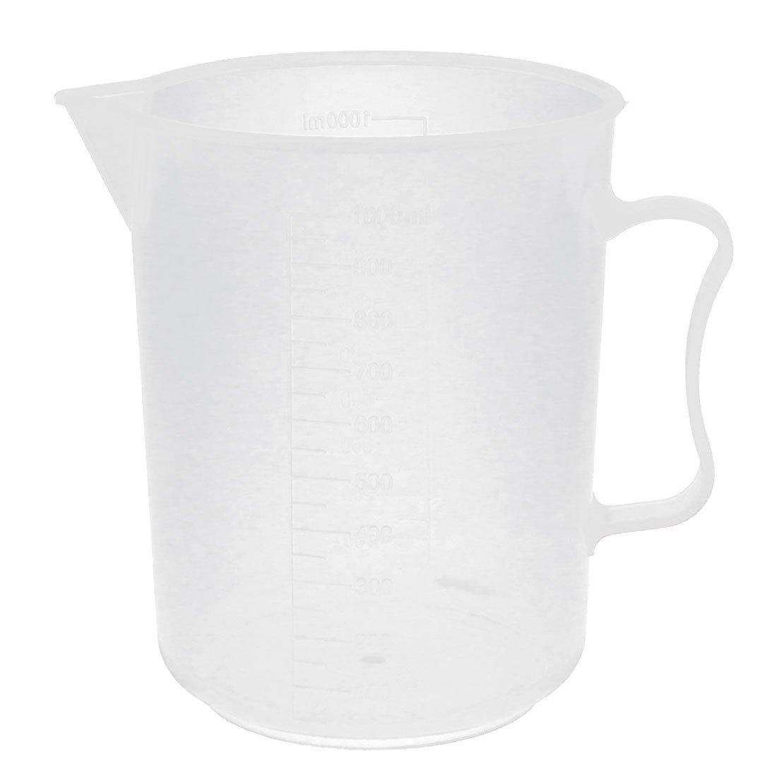 sourcingmap® Plastic Laboratory Measuring Handle Design Beaker 1000ml Transparent a15110200ux0224