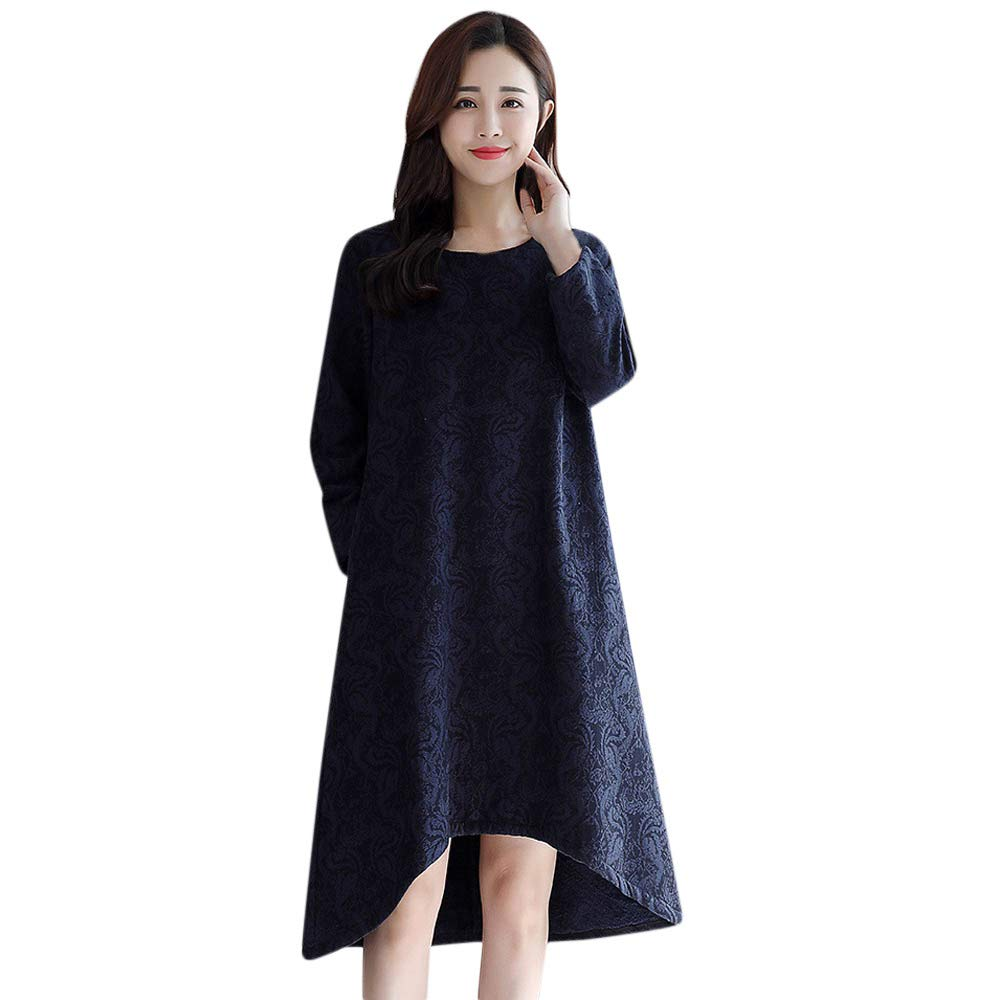 f872a3cfef5 SMTSMT Dress Womens Long Sleeve O Neck Printed Maxi Dress Plus Velvet  Cotton Linen Dress at Amazon Women s Clothing store