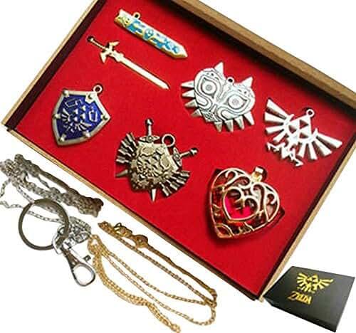 The Legend of Zelda Triforce Link Sword Shield Necklace Pendant Keychain Set Collection