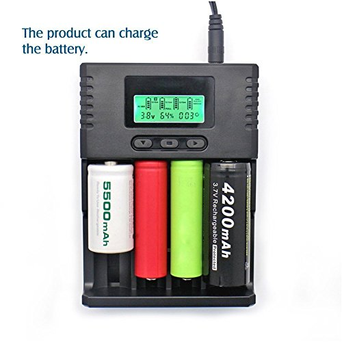 SUPEREX Smart Universal Battery Charger with Car Charger For AA AAA 18650 26650 C CR123a, lithium ion / Ni-MH 3.7V, 3.2V, 1.2V rechargeable batteries