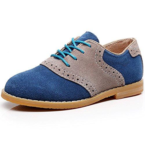 Suede Brogue Shoe - Shenn Boy's Kids Dress Uniform Brogue School Suede Leather Oxfords Shoes(Navy,Little Kid US13.5)