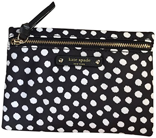 Designer Handbags Accessories - Kate Spade Small Drewe Wilson Road Dots Pouch Clutch Black White