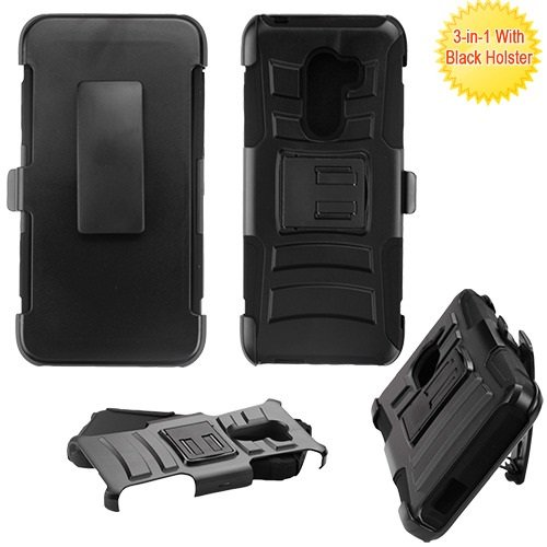 Tmobile REVVL Case, ALCATEL A30 FIERCE Case Phonelicious Xtreme Armor [Heavy Duty] Hybrid Dual Layer Kickstand Belt [Holster Clip] Combo Rugged Tuff+ Screen Protector & Stylus (BLACK) (T-mobile Clip)