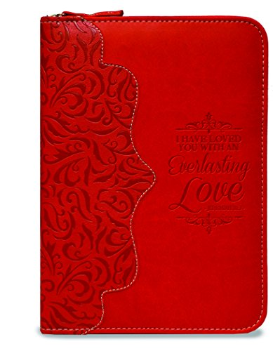 Everlasting Love Red 5.5 x 8 Inch Leatherette Zippered Notebook Journal