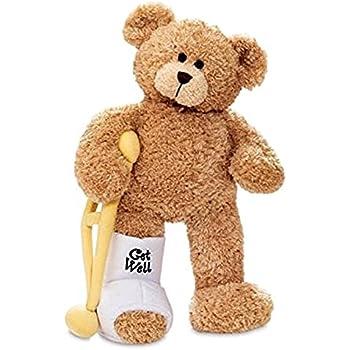 Gund Break a Leg Jr., Broken Leg Bear Get Well Soon Teddy Bear with a Cast, Crutch and Signature Cast 8.5 inches