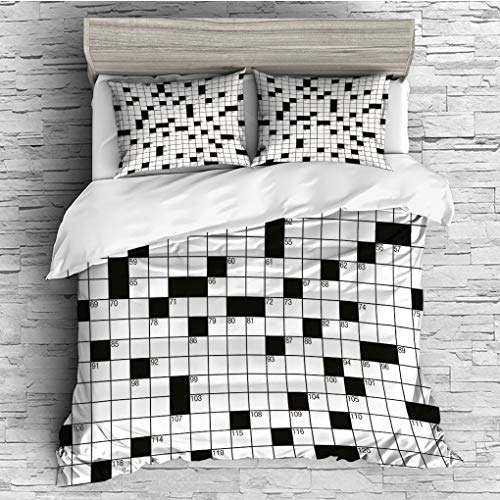 - 3 Pieces (1 Duvet Cover 2 Pillow Shams)/All Seasons/Home Comforter Bedding Sets Duvet Cover Sets for Adult Kids/Queen/Word Search Puzzle,Classical Crossword Puzzle with Black and White Boxes and Numbe
