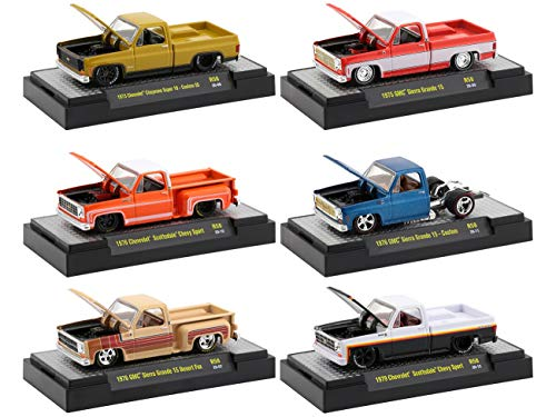 Open Box Auto Trucks Set of 6 Pieces Square Body Trucks Release 58 in Display Cases 1/64 Diecast Model Cars by M2 Machines 32500-58-OB