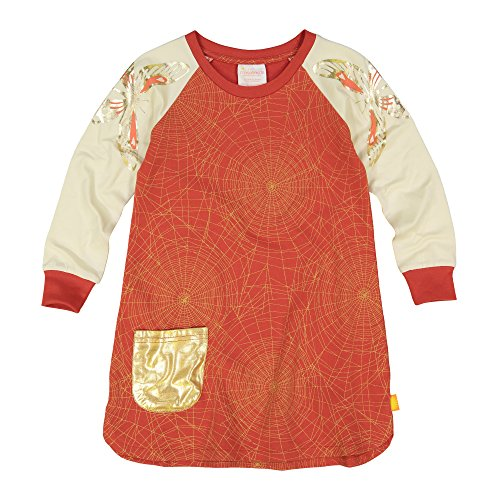 Masala Kids Girls' Little' Organic Sweatshirt Dress Golden Web Brick Red, 8Y
