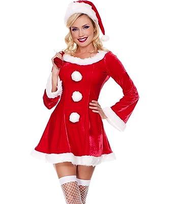 fcf76cee0d2d5 MissFox Mère Noël Déguisement Manches Longues Fantaisie Robe Rouge   Amazon.fr  Vêtements et accessoires
