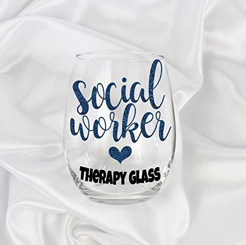 social worker gifts for women 20oz stemless Therapy glass 21 Social Christmas