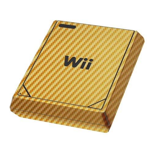 Nintendo Wii Mini Gold Carbon Fiber Full Body, Skinomi TechSkin Gold Carbon Fiber Skin for Nintendo Wii Mini - Golds Wii