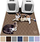 Gorilla Grip Original Premium Durable Multiple Cat Litter Mat (47x35), XL Jumbo, No Phthalate, Water Resistant, Traps Litter from Box and Cats, Scatter Control, Mats Soft on Kitty Paws (Mocha)