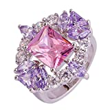 Empsoul 925 Sterling Silver Natural Novelty Created Pink & Amethyst Topaz Wedding Engagement Ring