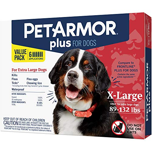 PetArmor Plus for Dogs, Flea and Tick Prevention for Extra Large Dogs (89-132 Pounds), Includes 6 Month Supply of Topical Flea Treatments (Dogs 45 Tablets)