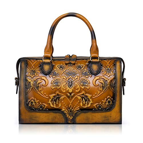 (APHISON Designer Hand Bags Unique Embossed Floral Women's Leather Handbags (BROWN) )