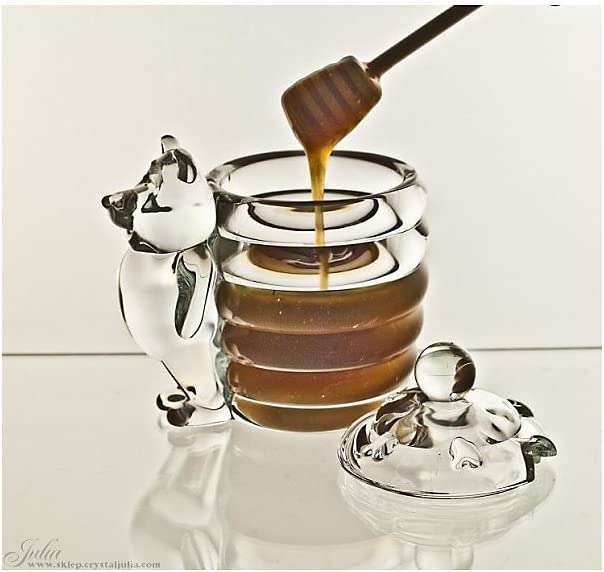 Honigdose mit B/är Honigspender Honeybear 280 ml H 16 cm Transparent Kristallglas
