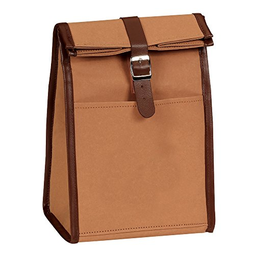 (Eunichara Classic Roll Top Lunch Bag Washable Kraft Paper Water, Abrasion and Tear Resistance Thermal Lining with Leather Buckle Closure - Color English Tan)