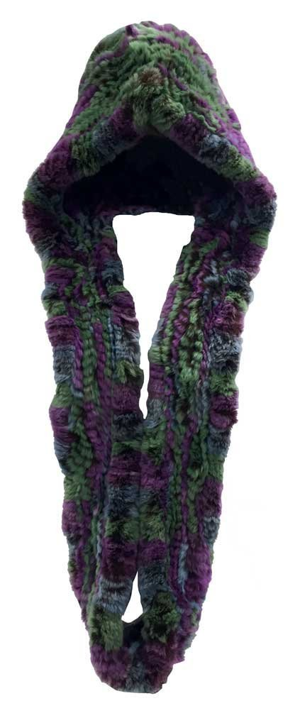Northstar Women's Purple/Blue/Green Chinchilla Real Fur Hat Infinity Scarf H-19