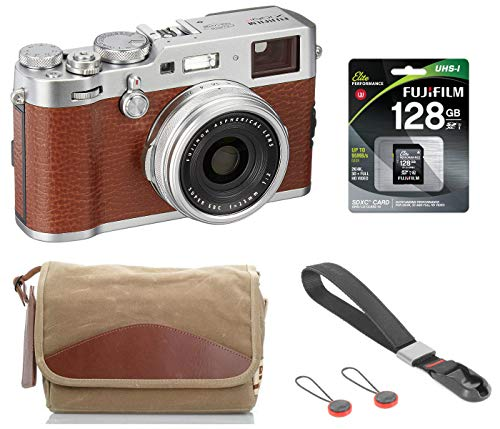 Fujifilm X100F 24.3 MP APS-C Digital Camera - Brown, Bundle Kit with Fujifilm F-5XB Shoulder & Belt Canvas Camera Bag + 128GB SD Card + Peak Design Camera Cuff Wrist Strap
