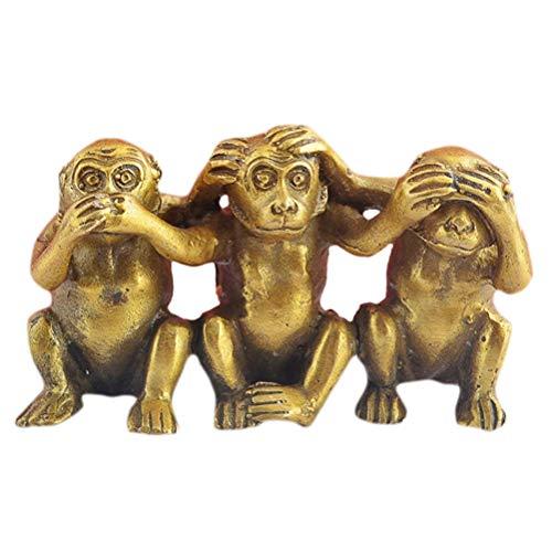 (fengshuisale Brass Hear No Evil, See No Evil, Speak No Evil Set of 3 Monkeys + Free Red String Bracelet M5025)