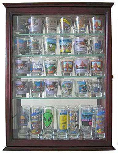 36 Shot Glass Display Case Wall Cabinet Holder Rack - Cherry Finish (SCD06B-CH)