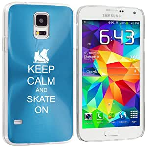 Samsung Galaxy S5 Aluminum Plated Hard Back Case Cover Keep Calm and Skate On Ice Skates (Light Blue)