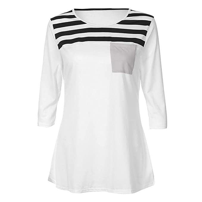 Mujeres Tops Rovinci Mujeres Cómodas Casual Daily Stripe Printing Pocket Túnica Camisa Blusas Manga Larga Blusa