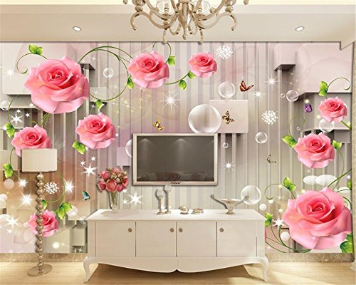 Mbwlkj 3D Wallpapers for Living Room Rose Vine Butterfly Bubble 3D Stereo Stripe Tv Background Wallpaper 3D Mural-150Cmx100Cm (Leaf Vine Stripe Wallpaper)