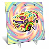 3dRose dc_119158_1 Funky Retro Hippie Sixties Seventies Bus with Swirly Psychedlic Background Desk Clock, 6 by 6-Inch Review