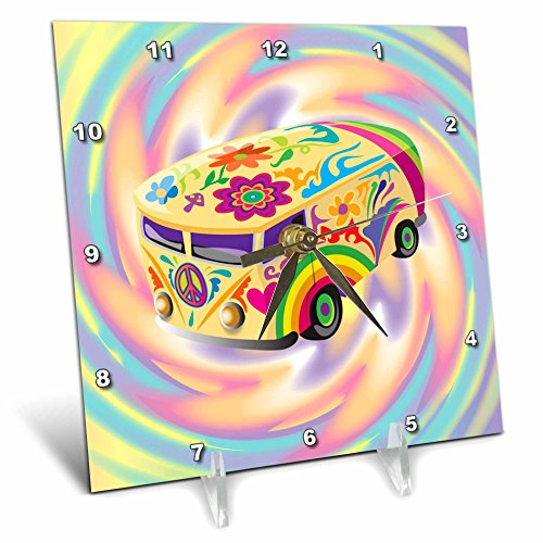 3dRose dc_119158_1 Funky Retro Hippie Sixties Seventies Bus with Swirly Psychedlic Background Desk Clock, 6 by (60s Background)