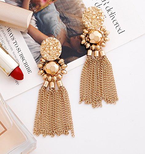Bohemian Statement Tassel Chandelier Drop Dangle Earrings with Cassandra Button Stud (gold) by LPON (Image #3)'