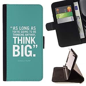 Momo Phone Case / Flip Funda de Cuero Case Cover - Think Big Inspiring Affiche texte - LG G4c Curve H522Y (G4 MINI), NOT FOR LG G4