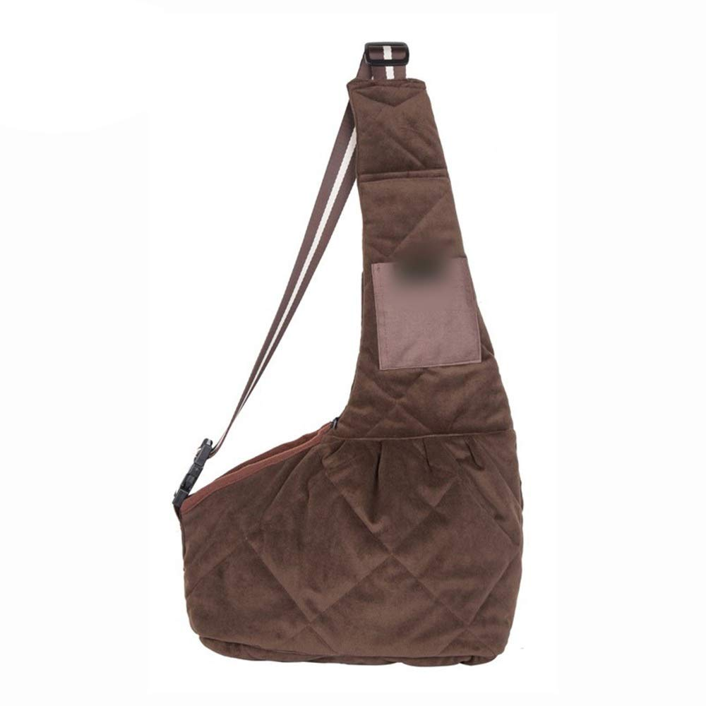 Brown MHYUE Pet Dog Cat Bias Shoulder Bag Portable Out Oxford Cloth Raincoat and Breathable Backpack (color   Black, Size   M)