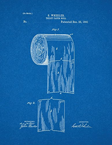 Toilet Paper Roll Patent Print Art Poster Blueprint