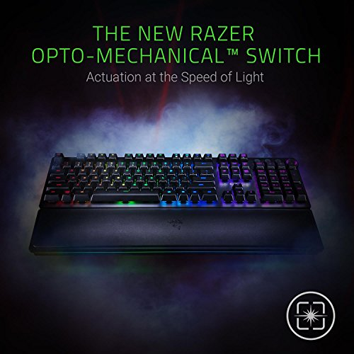 51VaOr6RwuL - Razer Huntsman Elite: Opto-Mechanical Switch - Multi-Functional Digital Dial & Media Keys - Leatherette Wrist Rest - 4-Side Underglow - Gaming Keyboard