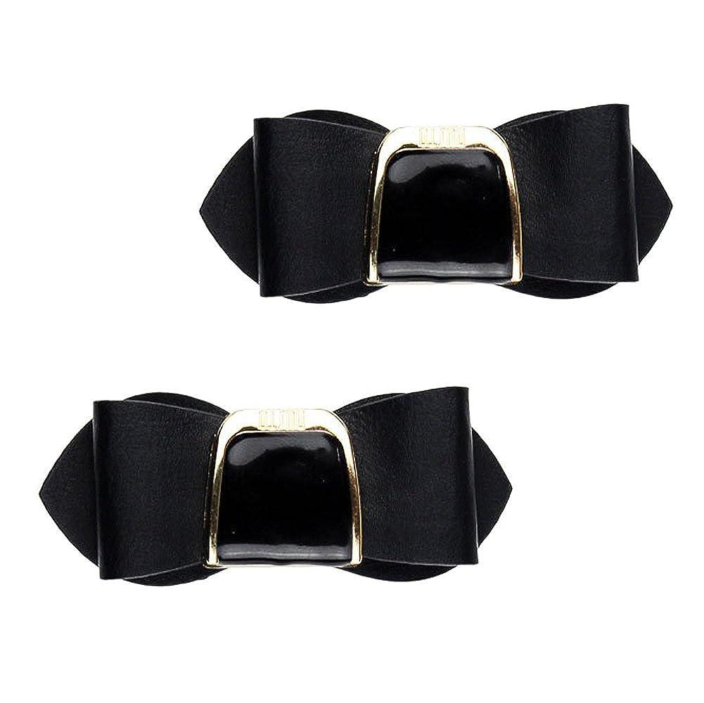 KELAND Womens Punk Leather Crystal Bow Detachable Shoe Clutch Clutch Wedding Clothes Hat Headband Headdress Decoration