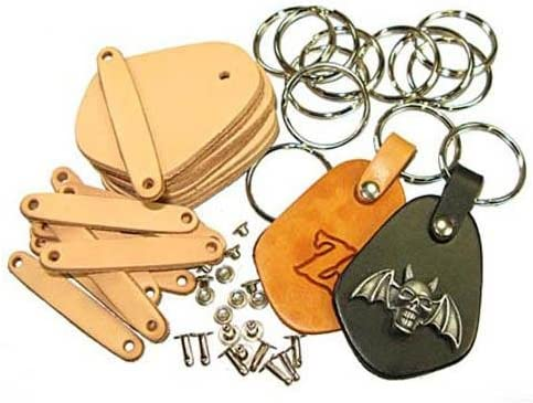 Vegetable Tanned Tooling Leather with Key Ring and Rivet Key Fob Kit 10 Pack