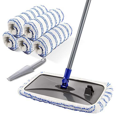 Mastertop mop, groot, vlak, microvezel, 40 x 21 cm, draaibaar, voor het reinigen van houten vloeren, tegels, marmer