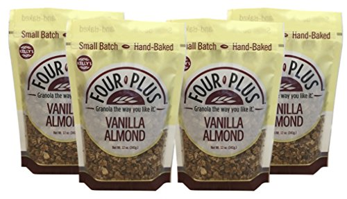 Kelly's Four Plus Vanilla Almond Granola, 12 oz, 4 count. Best Tasting All Natural Almond Granola Cereal, Healthy Crunchy Granola Breakfast Cereal. Oats, Honey Maple Syrup. The Best Granola for Yogurt (Best Tasting Healthy Yogurt)