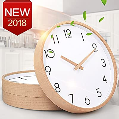 "TXL Wall Clock Wood 12"" Silent Large Wood Wall Clocks Digital Wall Clock Non Ticking for Night Table Kitchen Office Vintage Home Decor (1) - Large numbers are easy to read, front glass cover guarantees perfect view. Simple good quality attractive looking design to meet all your decoration need. Slient non-ticking movement ensure good sleep and best working enviroment. - wall-clocks, living-room-decor, living-room - 51VaP957exL. SS400  -"