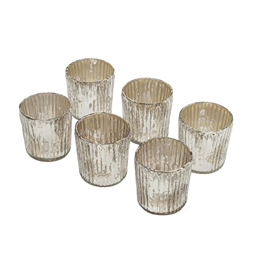 Small Ribbed Antique Silver Votives, Set of 6