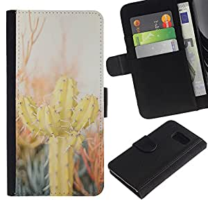 iKiki Tech / Cartera Funda Carcasa - Cactus Desert Sun Thorns Plants Nature - Samsung Galaxy S6 SM-G920