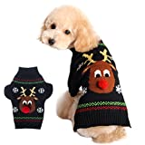 Xiaoyu Dog Sweater Pet Clothes for Dogs Christmas Reindeer, Black, M
