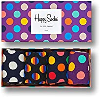 Happy Socks, Assorted Colorful Premium Cotton Sock 4 Pair Gift Box for Men and Women